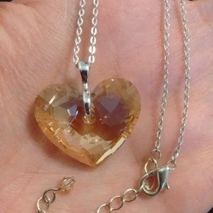 Jewelry - Amber Crystal Heart Necklace